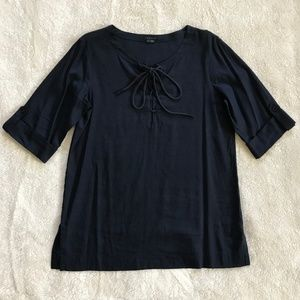 Theory Navy Tunic Top Lace Up Linen Nautical L
